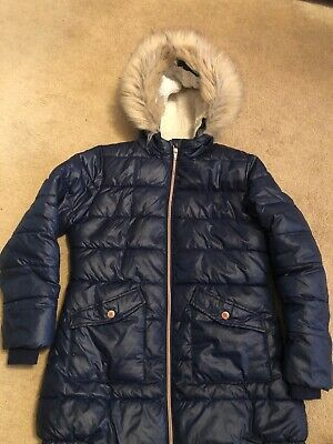 Navy Blue Winter Coat Girls Puffa Age 9-10 School George Asda Fur Lined Fur Hood