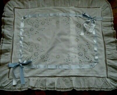 Victorian Pillow Cover fancy boudoir Sham Anglaise cutwork Chateau Decor France
