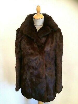 Chestnut Brown Glossy Real Fur Jacket  Size 12