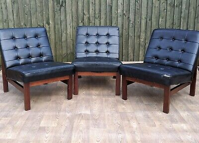 Vintage Retro Mid Century Danish Teak Buttoned Back Vinyl Black Chair Sofa