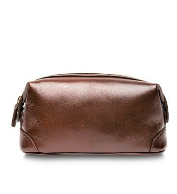 New Bosca Men's Leather Framed Top Zip Toiletry Travel Shave Kit Brown