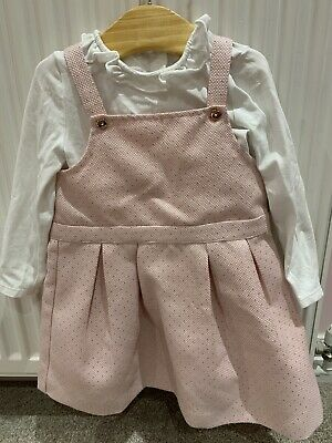 Girls Ted Baker Pinafore Dress And Top Outfit Set 12-18 Months