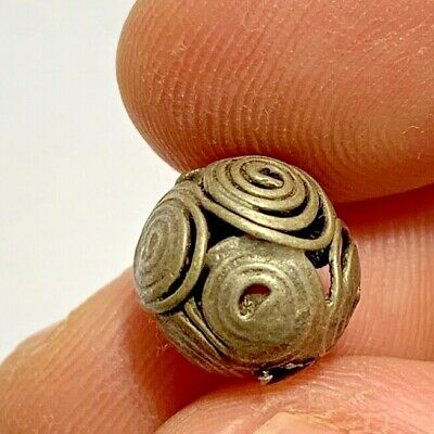 ANCIENT ROMAN SILVER FILIGREE BEAD VERY NICE AND INTERESTED 1.7gr 11mm