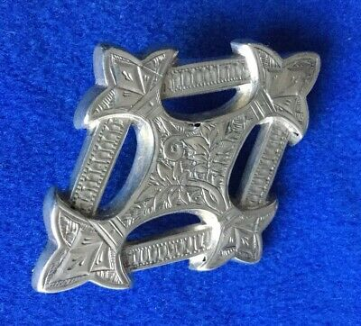 Antique Victorian Edwardian Silver Engraved Modesty Brooch