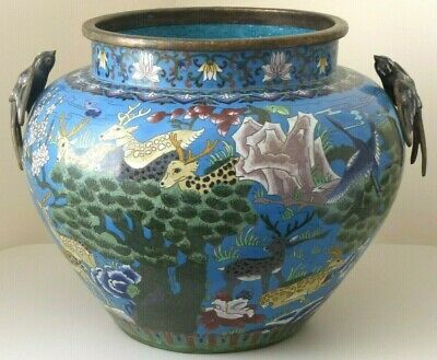 Very Large Antique Late 19th / Early 20th Century Cloisonné Jardinière / Planter
