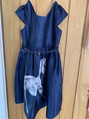 Monsoon Girls Party Dress; Navy Silky With White Unicorn Print! 7Y