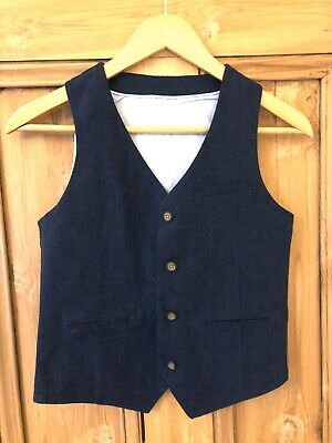 Marks And Spencer's boys blue Linen Waistcoat  Age 10-11 (Worn Once)