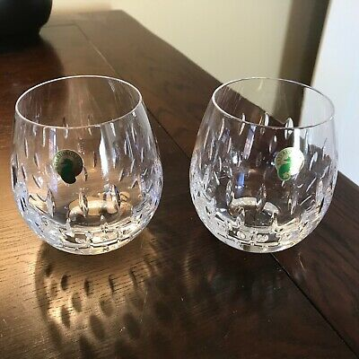 BRAND NEW Waterford Crystal Stemless Red Wine Glasses, Set of 2 - Signed