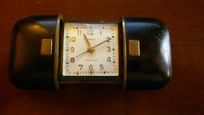 Vintage 1950's Semca Clock 7 Jewels Travel Clock With Leather Outside