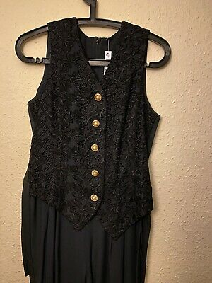 Vintage Gothic Embroidered Jumpsuit With Waistcoat - Small (8/10)