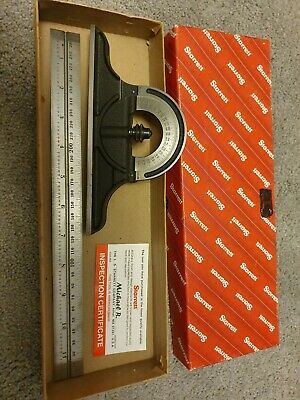 """STARRETT Bevel Protractor and 12"""" ruler; USA Made"""