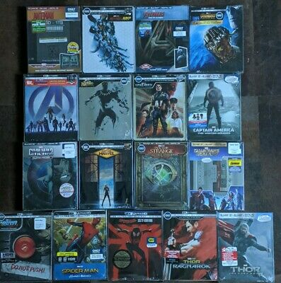 Marvel SpiderMan Thor Guardians AntMan Captain Avengers 4K 3D Steelbook Lot