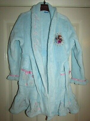 girls blue soft fluffy dressing gown from Matalan,FROZEN design age 6-7yrs