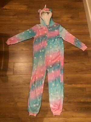 Girls Primark Unicorn All In One, Age 11-12 Years Fleece Pyjamas