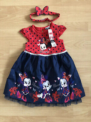 New With Tags Girls Disney Minnie Mouse Dress And Headband Set Size 2-3 Years