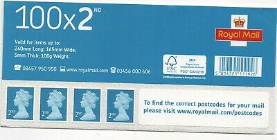 100 Second Class Royal Mail Self Adhesive Postage Stamps