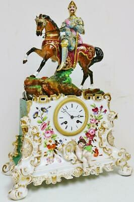 Antique French Porcelain Horse Figural Mantel Clock Hard Paste Porcelain Clock