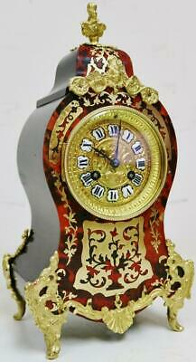 Antique French 8 Day Gong Striking Red Shell & Bronze Boulle Inlaid Mantel Clock