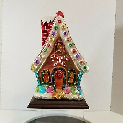 2004 Thomas Pacconi Gingerbread House Christmas Blown Glass 10 Inch Glitter