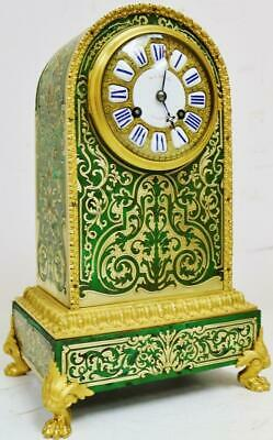 Rare Antique French 8Day Green Shell, Bronze Ormolu & Inlaid Boulle Mantel Clock