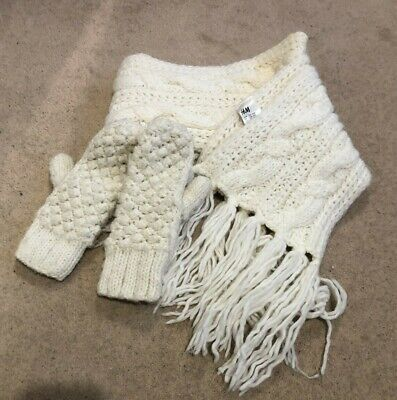 H&M Chunky Knitted Cream White Long knit Tassel Scarf & Glove Mittens Set