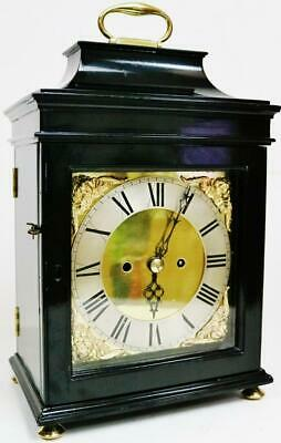 Antique English London Twin Fusee Verge Escapement Ebonised 8 Day Bracket Clock