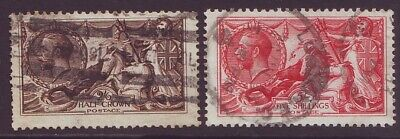 GB - KGV 1913 Sea Horses 2s6d and 5s WATERLOW Printing SG 400/401(E443)