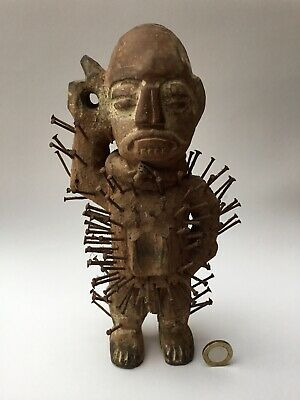 Old Tribal Bakongo Nail Fetish Male Hand Carved Wood Figure, Congo Sculpture
