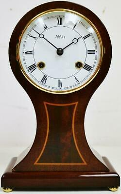 Wonderful Vintage German 8 Day Inlaid Mahogany Striking Balloon mantel Clock