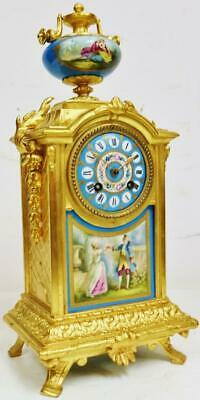 Antique French 8Day Striking Gilt Metal & Blue Sevres Porcelain Mantel Clock