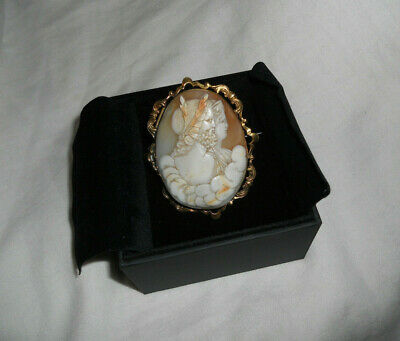 Large Antique Victorian Double Portrait Shell Cameo 9ct Gold Brooch with Pin