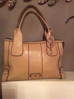 Gorgeous Fossil Tan Colour Leather Bag With Key Charm