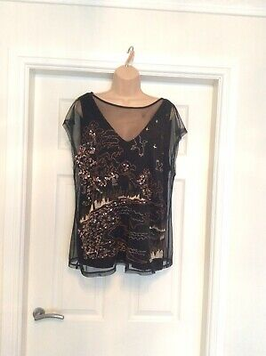 Next Black & Gold Blouse Size 20 Sequin Embroidery Christmas New Year Party Top,