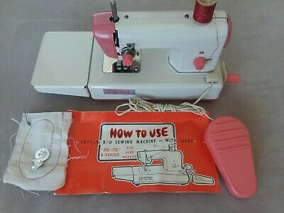 Vintage Crystal Sewing Machine RE-70-EP Battery, Pedal or Hand Operated Pink