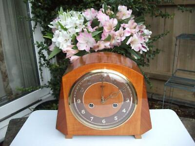 Smiths 8 Day Striking Mantel Clock. Amazing Walnut Case. 1955. Fully Overhauled.