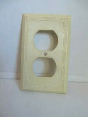 Vintage Ivory Mid Century Ivory White Double Outlet Wall Plate Cover USA Deco