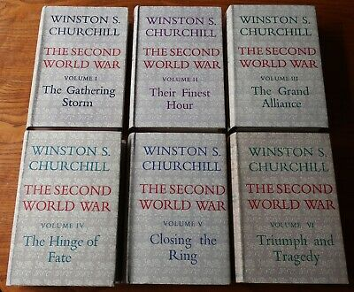 The Second World War six volume set by Winston S. Churchill. Excellent condition