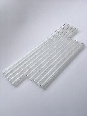 """10 Pc. Set 12"""" & 8"""" Long 12 mm OD 8 ID Glass Pyrex Blowing Tubes 2 mm Thick Wall"""