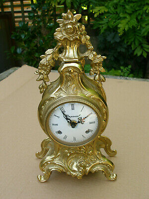 Italian Brass 8 Day Mantle / Table Clock With A German Striking Movement New