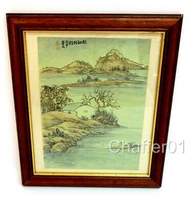 Original Oriental Watercolour on Silk with signatures and Seals