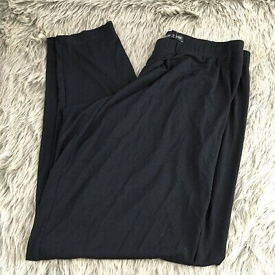 Eileen Fisher Womens Black Slim Leg Pants Size Small Rayon Blend Pull On
