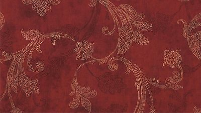 Fabric Red Yellow Black Antique Leaves