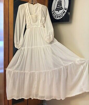 Vtg 70's JODY T Dress Boho Prairie Maxi White Swiss Dot Wedding S/XS Hippie