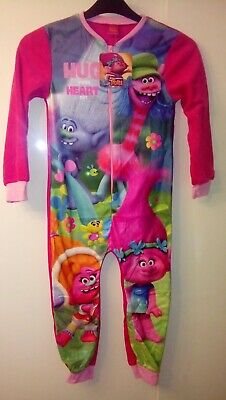 New Girls Official Dreamworks Trolls Pink Fleece All In One Pyjama Age 4-5 Years
