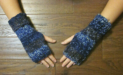 Hand Knit Fingerless Gloves- Wrist Warmers-Stormy Blue Heavy Weight Mittens