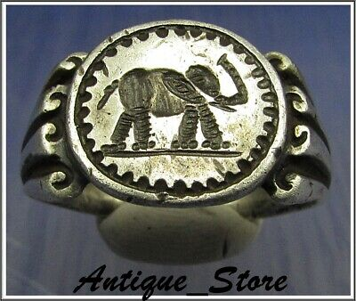 ** ELEPHANT ** JULIUS CAESAR **Ancient Silver Legionary Roman Ring **AMAZING **