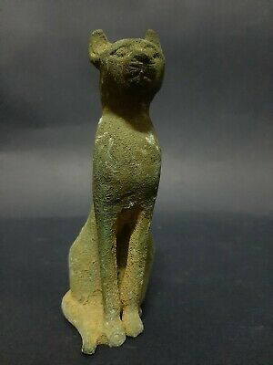 Rare ANCIENT EGYPTIAN ANTIQUES BASTET Goddess Pharaoh Ubasti Cat Statue Egypt BC