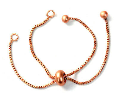 Slide Slider Bracelet Box Chain Rose Gold Adjustable Jewelry Making Beading