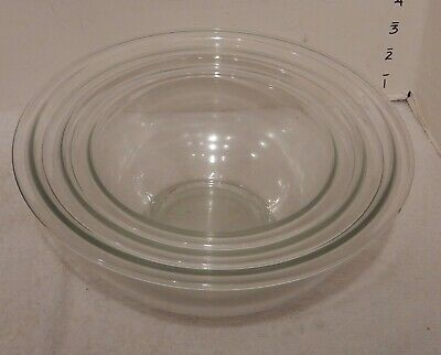 Vintage Pyrex Set of 3 Clear Glass Nesting Mixing Bowls~~~~~MINT