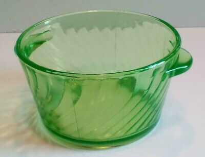 Anchor Hocking Spiral Green Depression (Uranium) Glass Ice Bucket Butter Tub